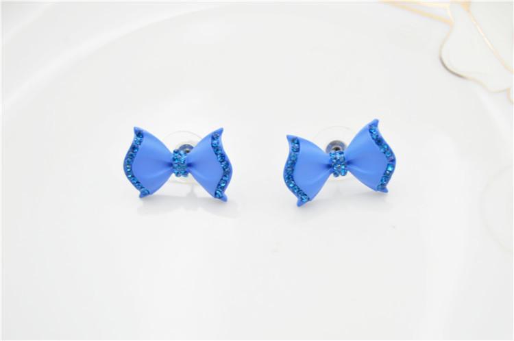 2014新款可爱蓝色蝴蝶结耳钉