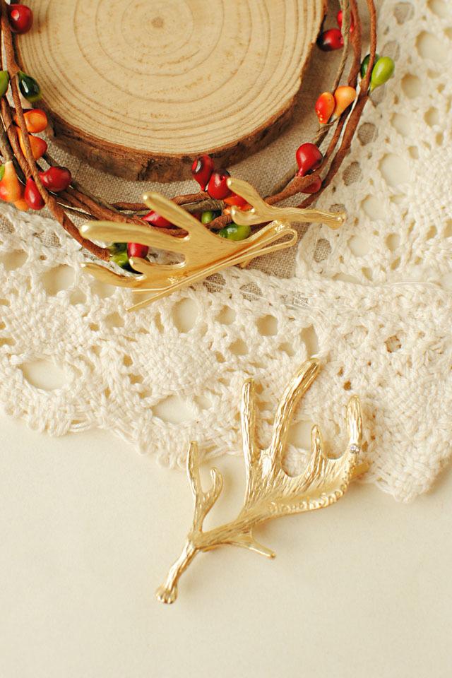 森系鹿角造型带钻发夹
