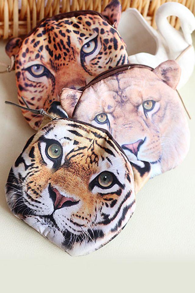 萌丑萌丑狮子豹子老虎头零钱包