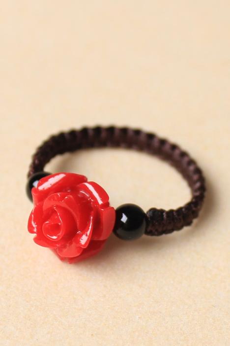 玛瑙混搭雕漆玫瑰花手编戒指
