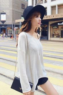韩国简约时尚纯色宽松薄款针织衫