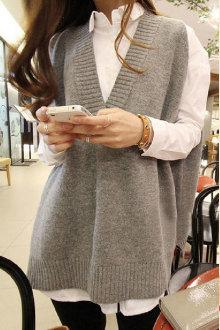 韩国款V领背心毛衣