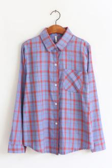 韩国早秋百搭格子长袖衬衫