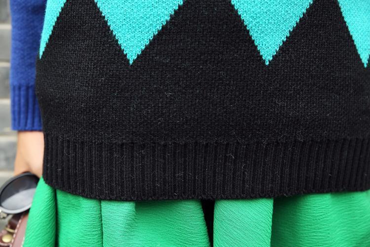菱形几何图案宽松毛衣