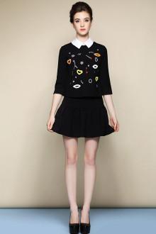 钉珠小香风黑色短裙套装