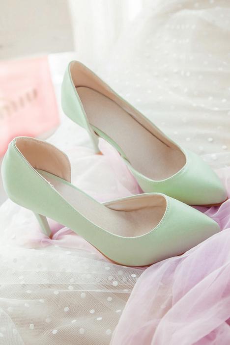 秋季新款,尖头单鞋,女鞋,休闲鞋,鞋子,显瘦,可爱,小清新,细跟高跟鞋