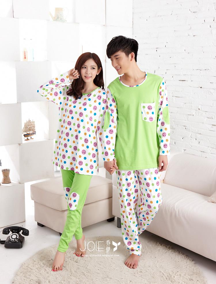 韩版可爱笑脸情侣家居服