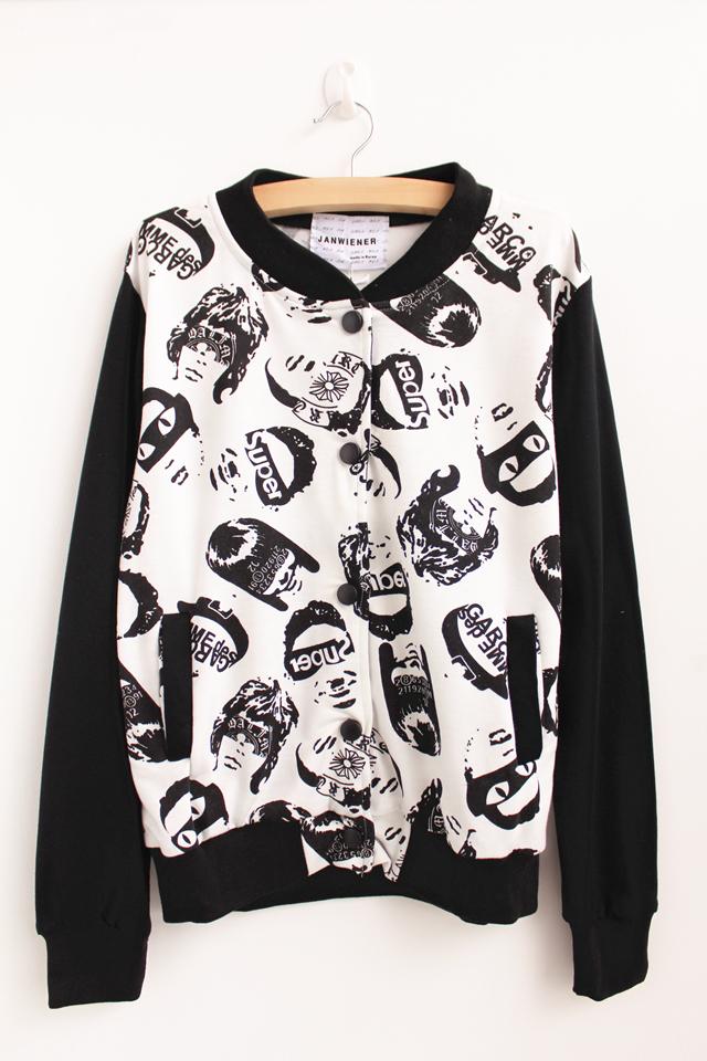 欧美黑白头像棒球服-来自蘑菇街优店