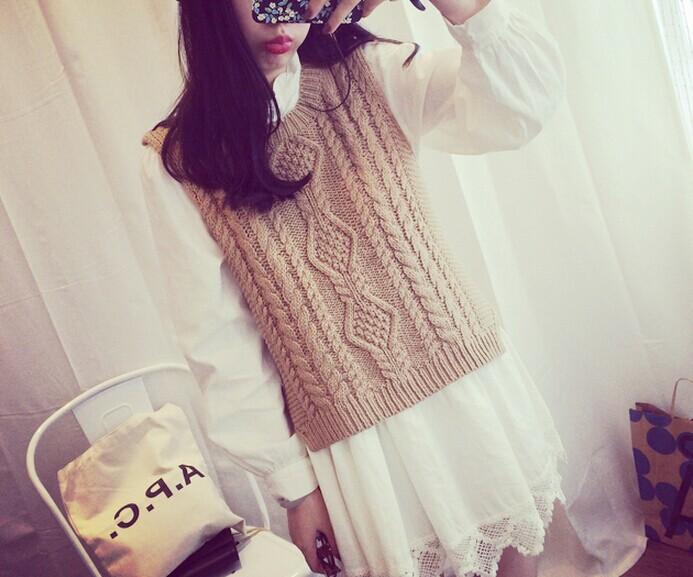 韩版秋季粗花背心毛衣