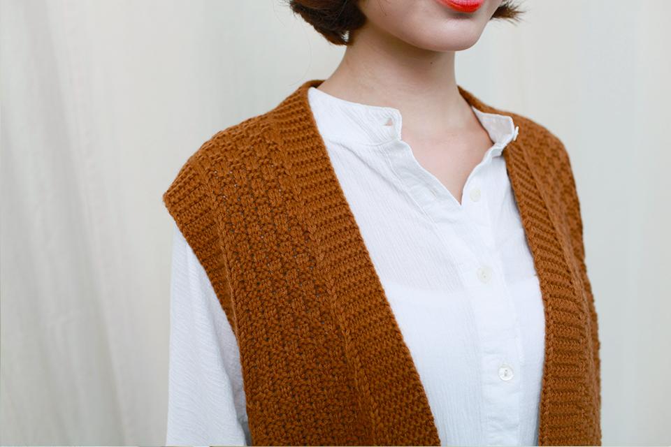 森系毛线编织款长马甲背心
