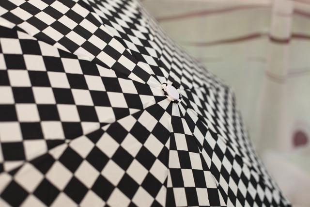 黑白赛车格自动雨伞