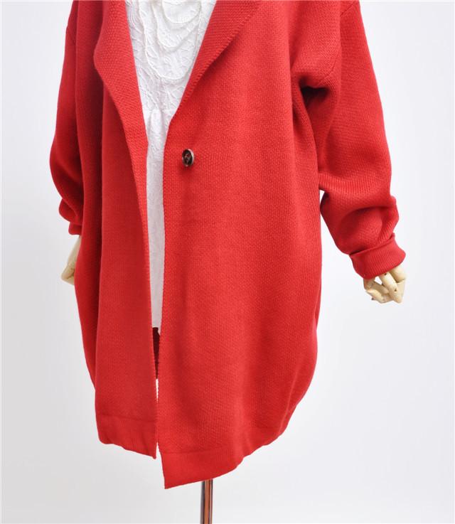 圣诞红带帽毛衣外套