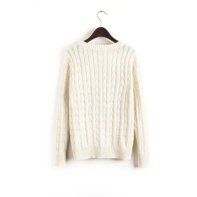 简约麻花编织毛衣-来自蘑菇街优店