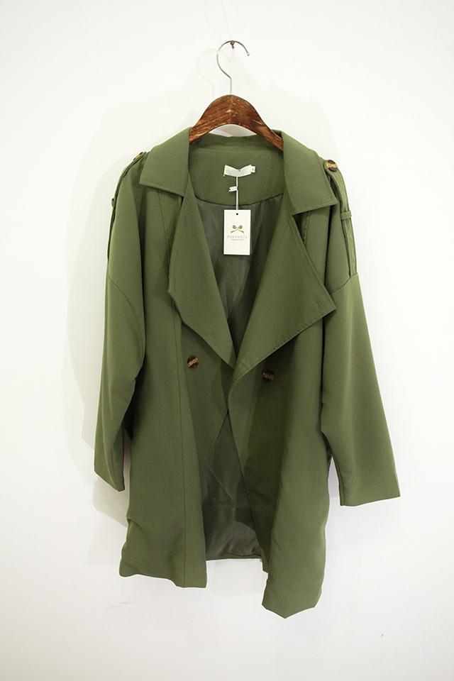 实拍新品军绿色中长款新潮风衣