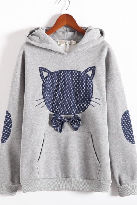 猫咪卡通连帽子卫衣