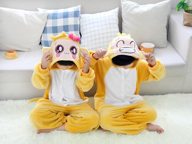 萌萌卡通动物连体家居服亲子套装