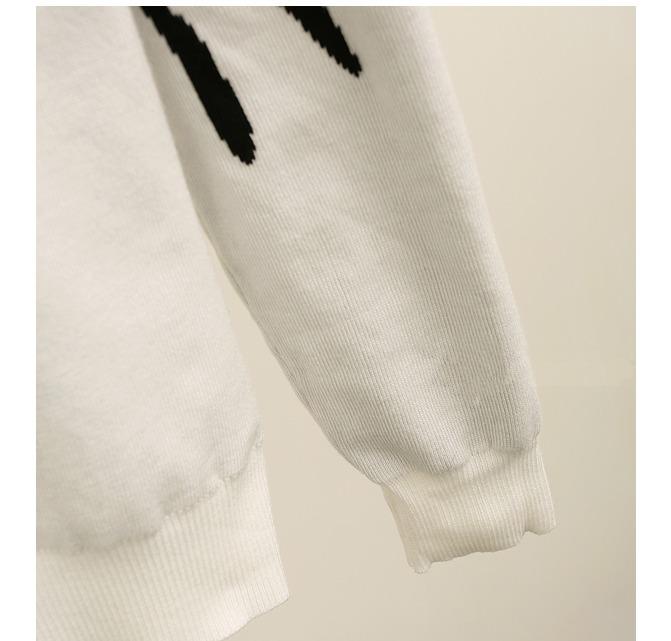 高圆圆同款黑白丹顶鹤毛衣