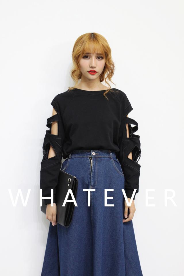 whatever几何镂空破洞袖卫衣