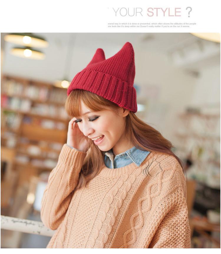 韩版可爱猫耳朵毛线针织帽