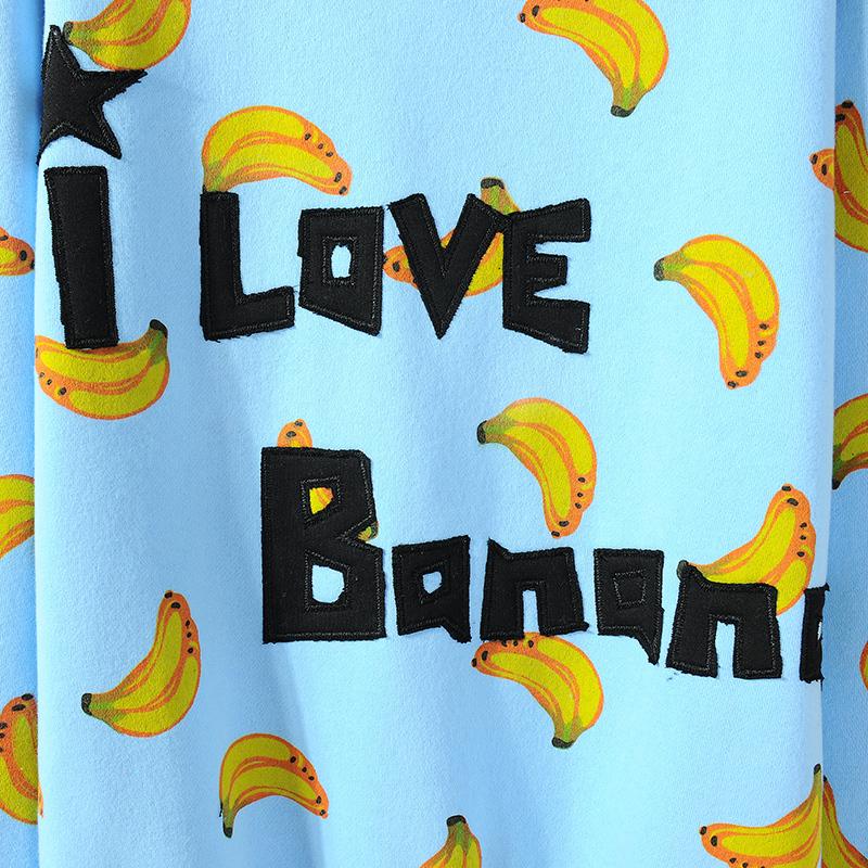 甜美可爱小清新香蕉印花加厚卫衣