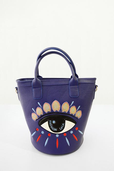 刺绣大眼睛水桶手提包包