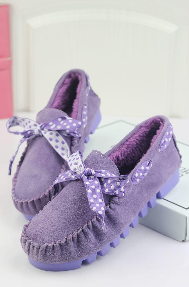 波点蝴蝶结保暖女棉鞋