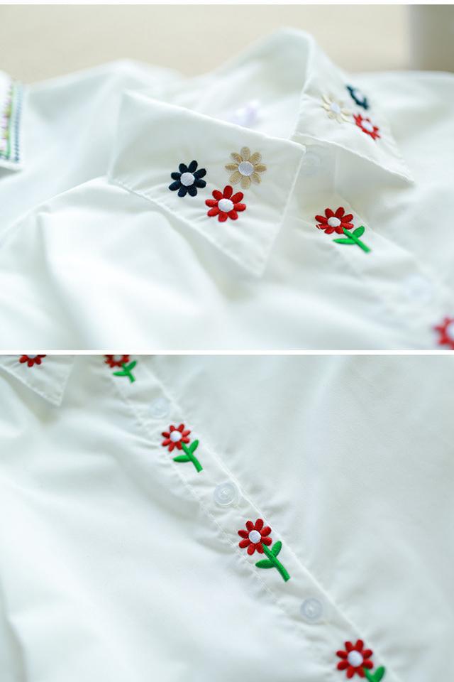森系刺绣小花衬衫