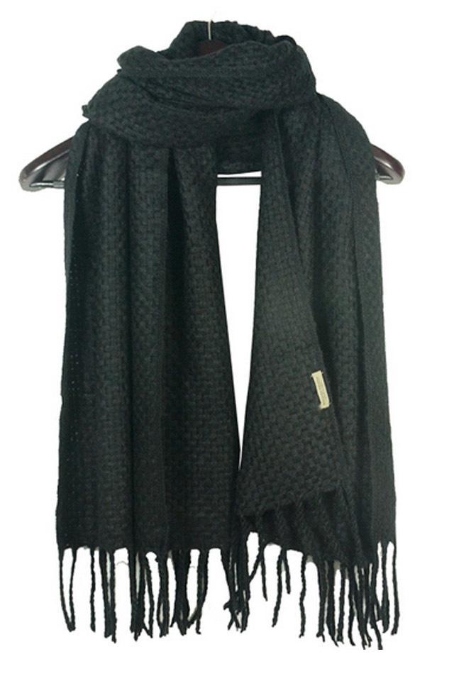 韩国秋冬纯色毛线针织编织围巾