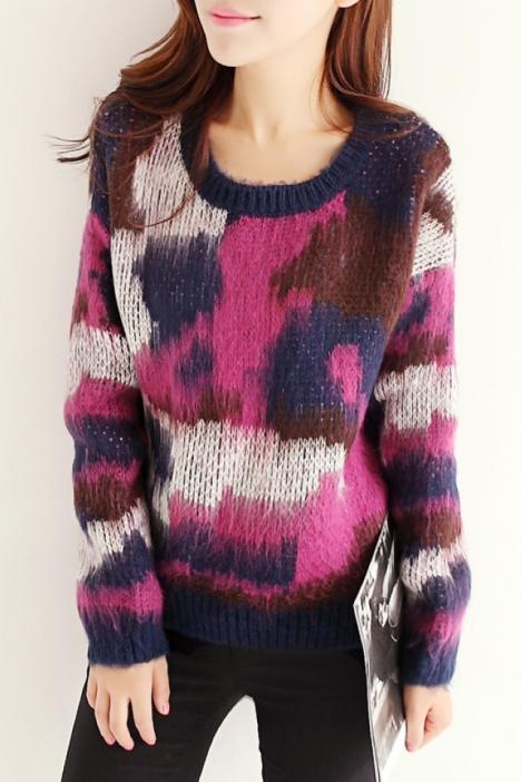印象花纹毛绒编织毛衣