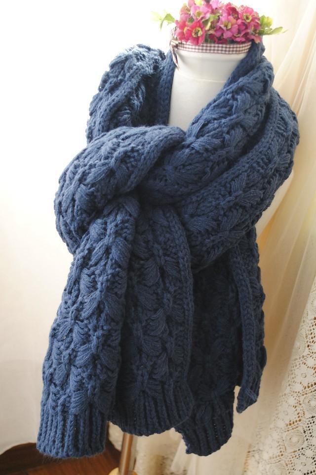粗毛线麻花编织围巾-来自蘑菇街优店