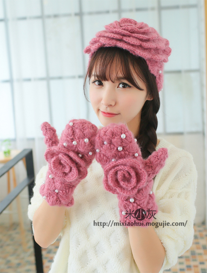 手工编织花朵帽子-来自蘑菇街优店