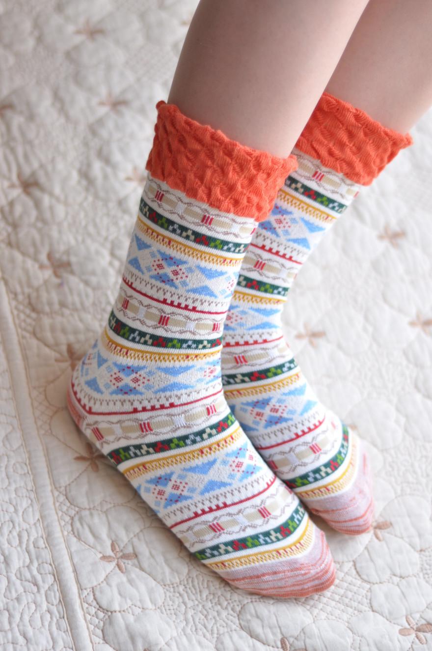 [两双]花边民族风女袜