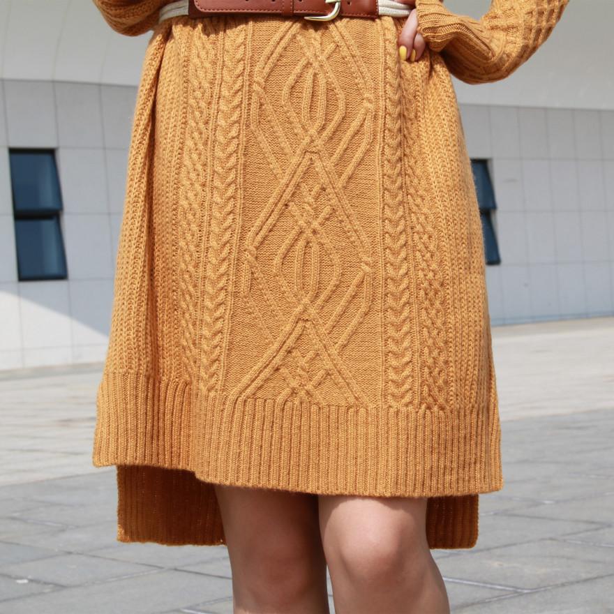 多色毛线编织长袖连衣裙配腰带
