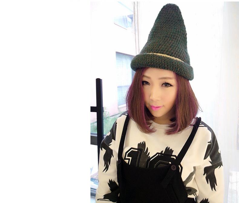 潮人女巫魔法尖头毛线帽子