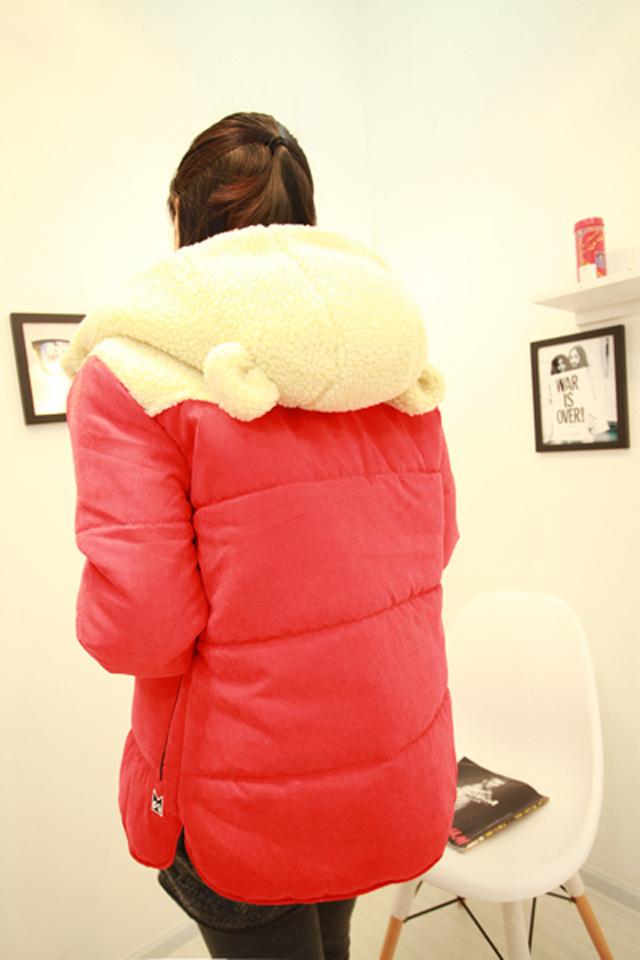 韩版可爱猫耳朵羊羔绒棉服
