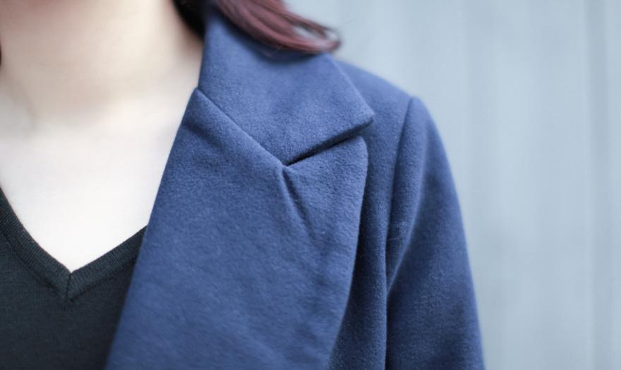 藏蓝色 毛呢大衣