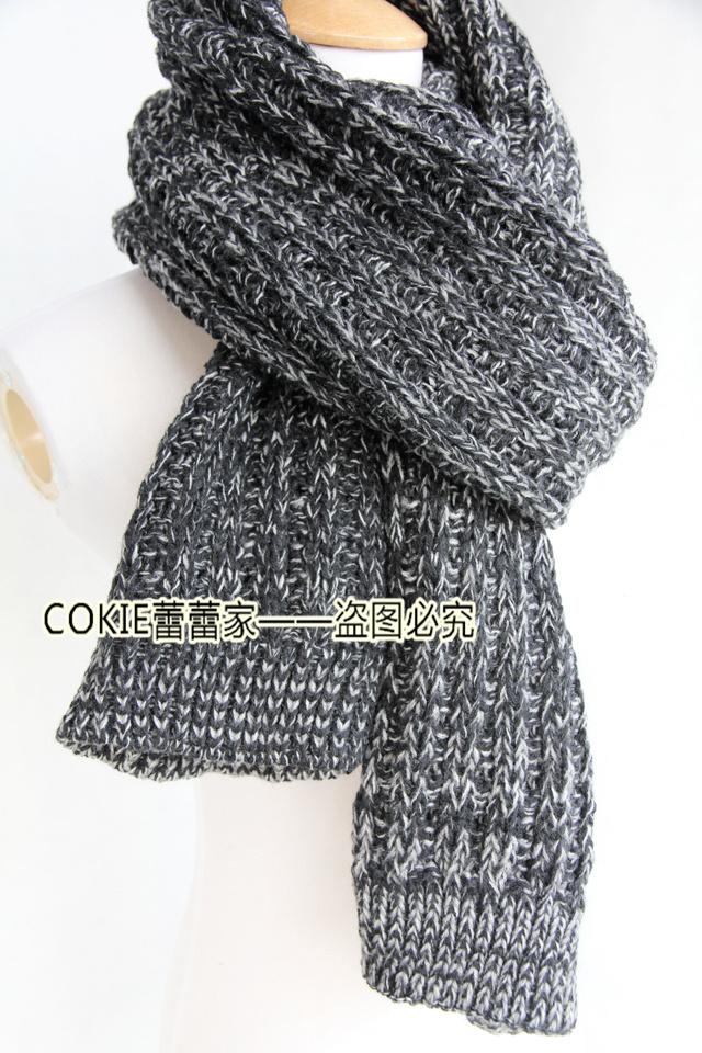 手工毛线编织杂色围巾