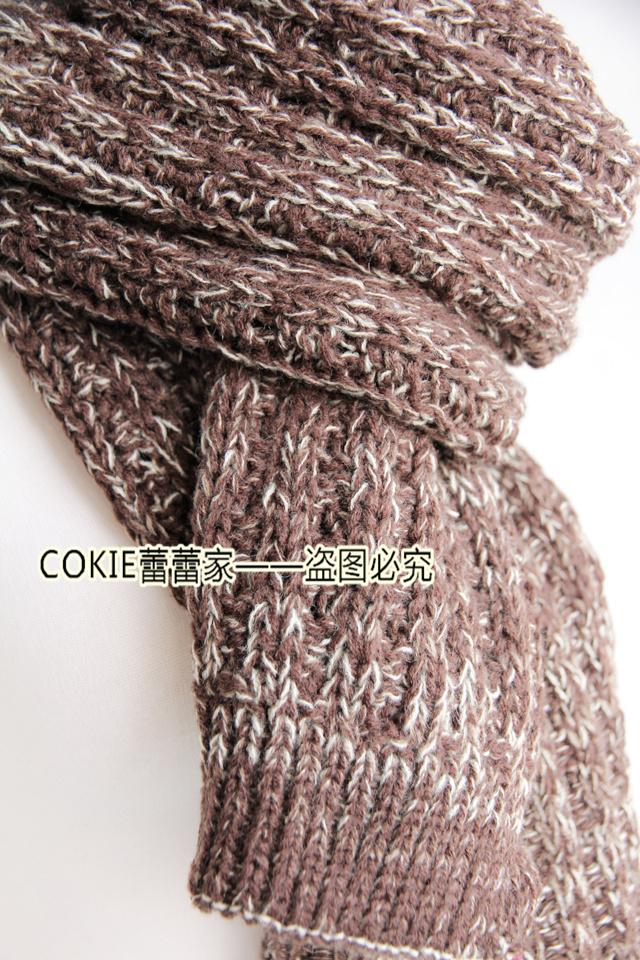 手工毛线编织杂色围巾图片