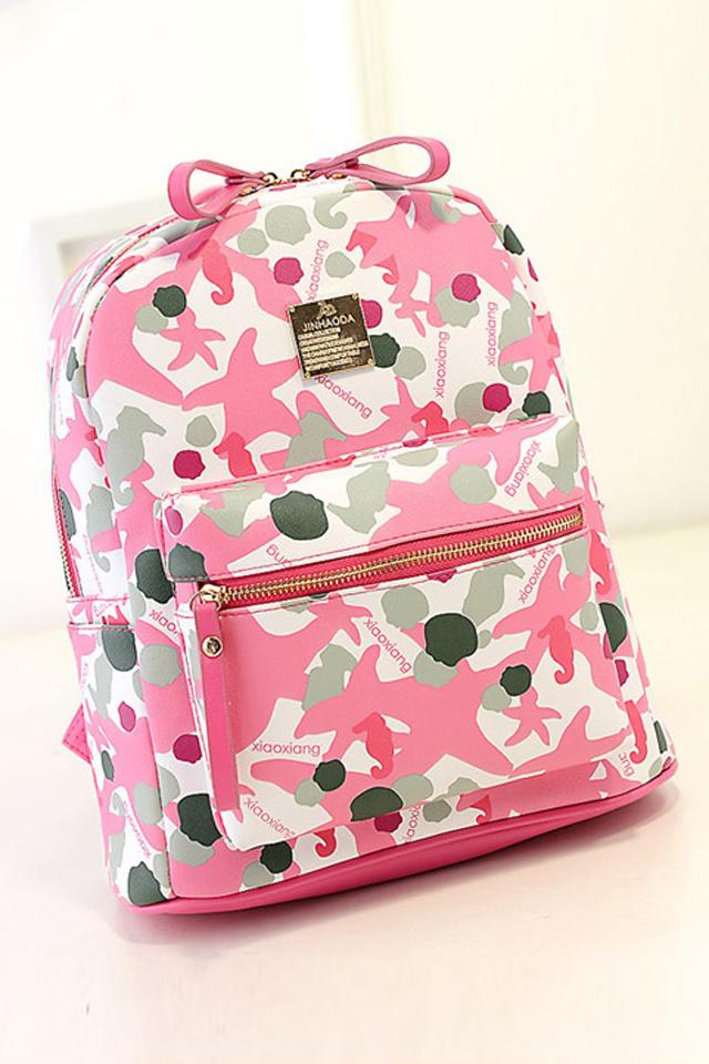 粉色海星迷彩双肩背包