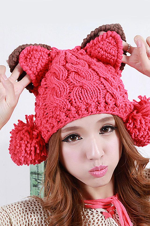可爱小恶魔猫耳朵毛线帽
