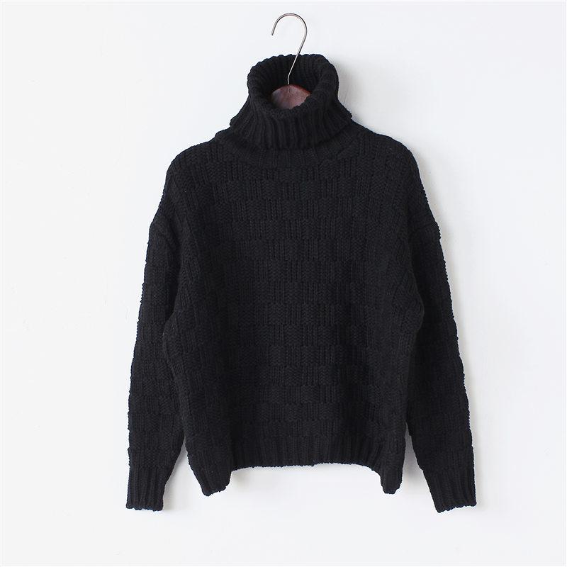 韩版格子编织纹高领毛衣