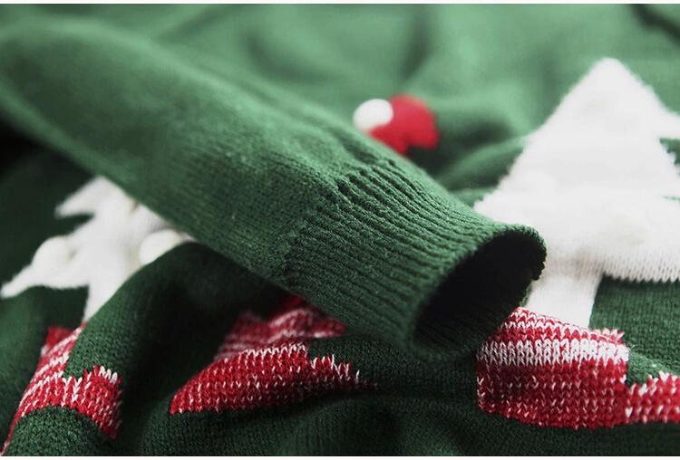 叶子家韩版圣诞树图案套头毛衣