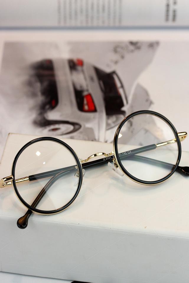 【图】韩国原宿复古文艺圆形细框眼镜搭配/价格-天字