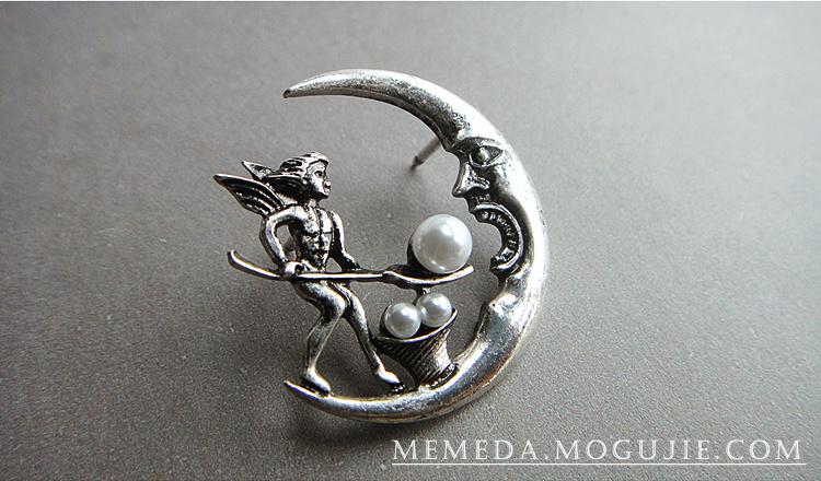 精灵喂月亮胸针