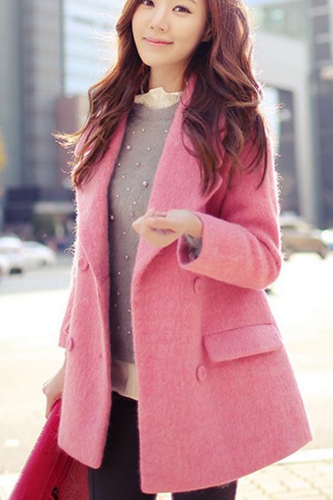 粉色毛呢,大衣外套,韩版呢子上衣