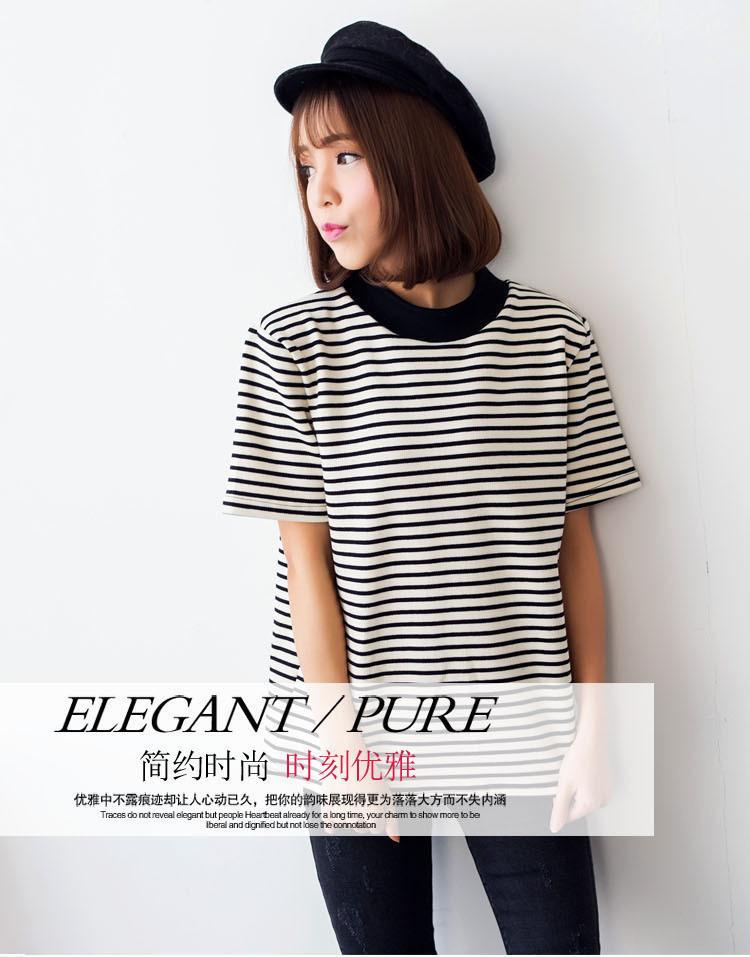 2015春夏新款简约条纹短袖t恤