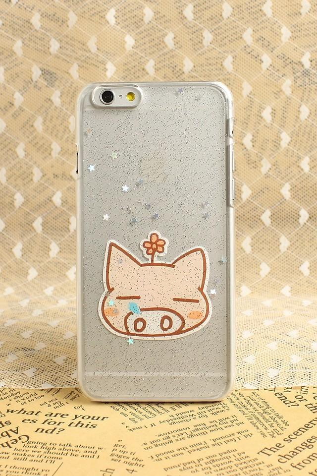 萌猫咪 iphone6闪粉滴胶手机壳