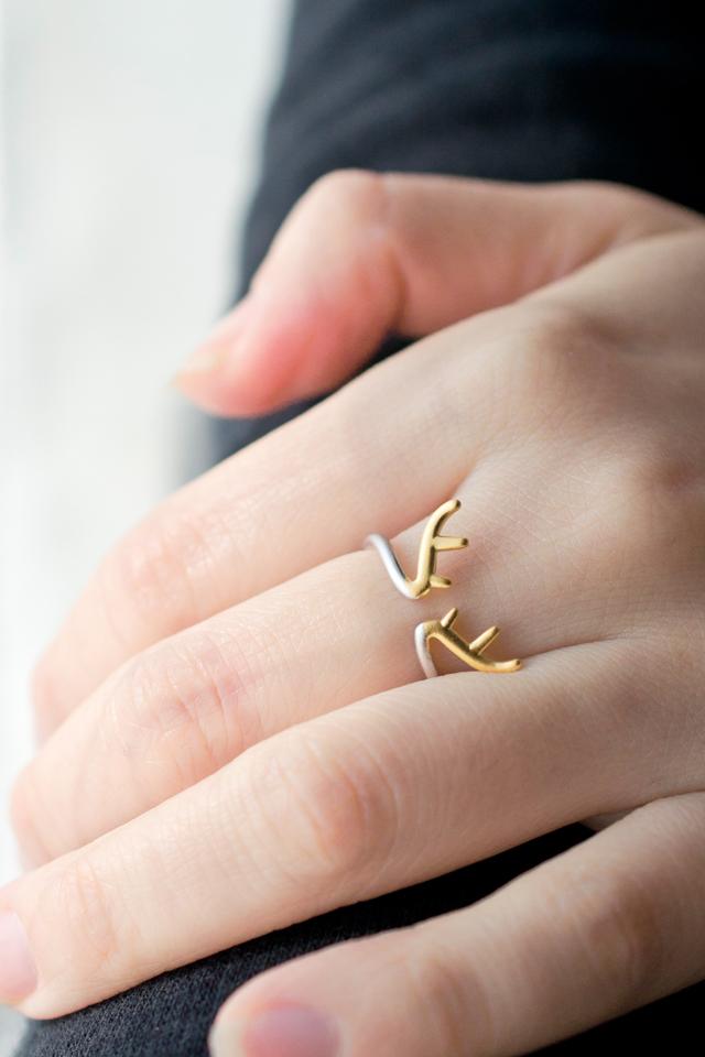 气质可爱迷人s925纯银麋鹿角开口戒指