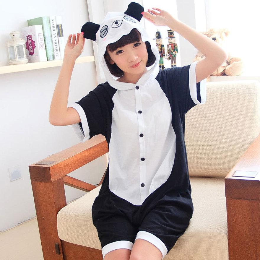 情侣纯棉短袖熊猫动物连体睡衣