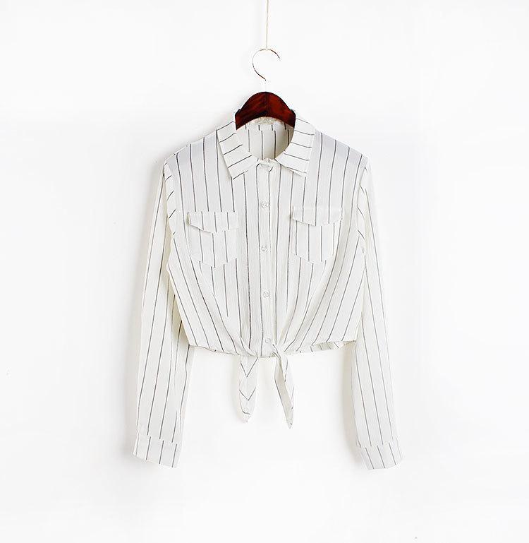 条纹打结系带短款衬衫